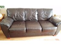Dark Brown leather matching 3 seater and 2 seater sofas