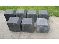 7 small BLOCK KERB CHARCOAL