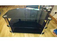 3-shelf black glass tv stand