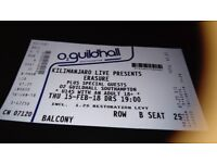 Erasure ticket for Tonight Southampton.. Balcony 2nd row. Sold out concert