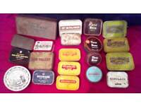 Job lot of rare vintage assorted tobacco tins