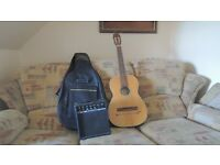 semi electro acoustic parlour guitar with padded case and amp