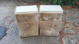 Pair of Vintage Retro KitschBedside Cupboard Table . Dralon. Glass Surfaces
