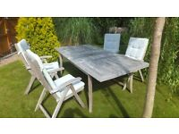 Wooden Patio Dining table and chairs