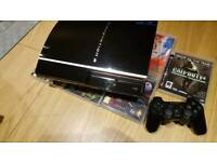 Sony PS3,Controller,Power/Data Cables and Games