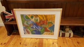 large oak framed abstract painting