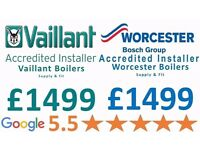 Worcester & Vaillant Supply & Fit £1499/Expert Boiler Installation,Repair&Service/Gas certificate