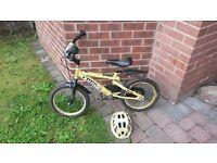 "Boys Raleigh army bike and helmet 16"" wheel"