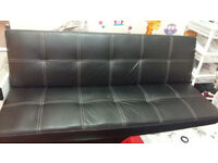 Single Faux Leather Sofa Bed in Black - Spencer Sofabed
