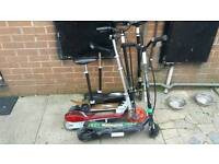 Four electric scooters