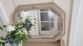 Heavy 1930s bevelled mirror finished in 'Annie Sloan' chalk paint (country grey).....Charming!