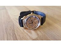 Silver and Gold Sekonda Wrist Watch With Black Leather Band