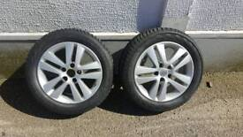 2 x Vauxhall alloy wheels complete with vredestein winter tyres