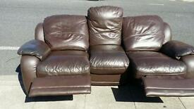 Brown recliner 3 seater leather sofa