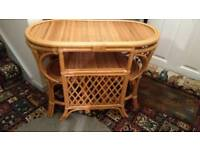 Cane Conservatory table with two chairs