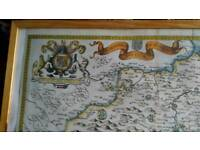 Framed map of County Durham