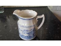 Antique Furnivals Blue Transferware 2 cup Quail Pitcher Made England No. 684771