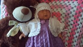 Hand knitted girls 4 piece set NEW 16-18 inch reborn doll size