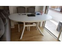 White chalky paint dining table