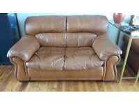 FREE, brown leather two seater sofa,FREE to collect