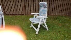 2 garden chairs with cushions Garden Hose with reel fix to wall,Water tap, planders and half barrels