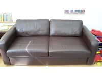 john lewis brown leather sofabed, armchair and pouffe