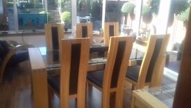 Solid Oak and Glass Dining Table with 6 Chairs