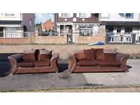 3+2 brown material and suede sofa on chrome feet