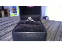 Brand New 9ct White Gold 1/4 Carat Diamond Solitaire Engagement Ring Size P