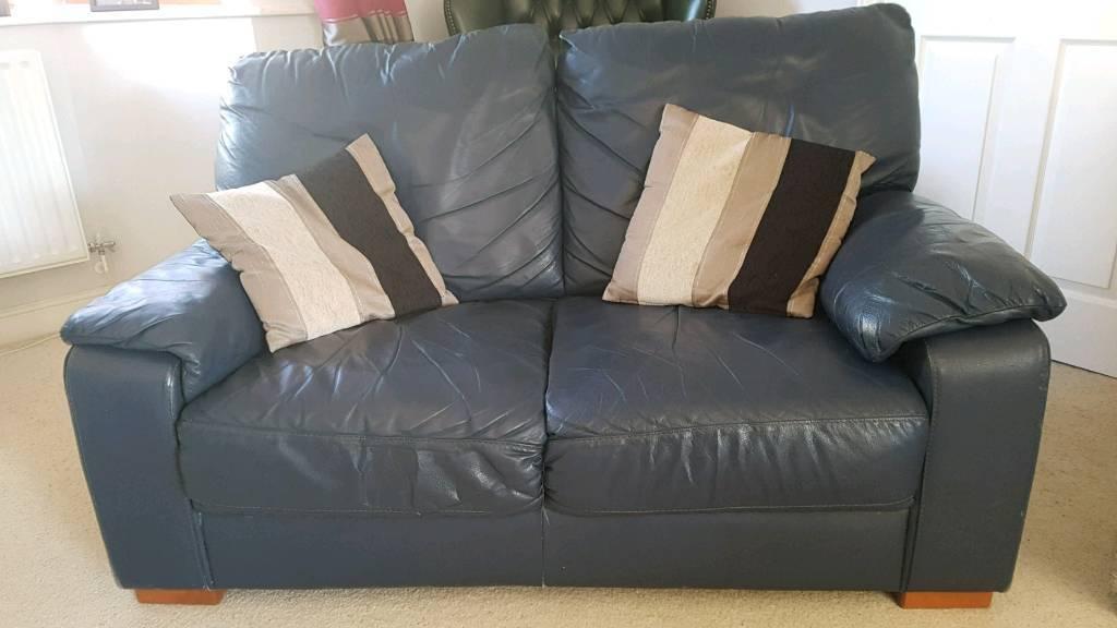 2 Seater Dark Blue Leather Sofa