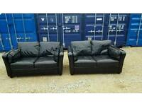 2 real black leather sofas