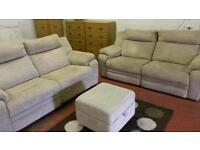 2 x 2seater in beige with foot stool