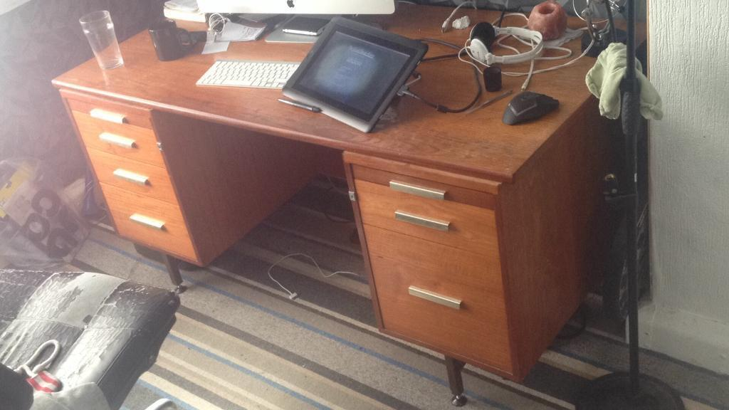 Strong wooden study desk with key, drawers and pull out