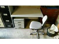Desk, drawers and chair