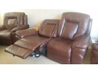 Brown three piece settee