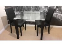 Square Glass Top Dining Table & Matching Chairs, Dark Brown