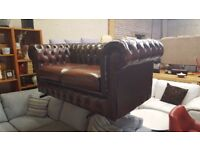 Good Quality Brown Leather 2 Seater Chesterfield Sofa
