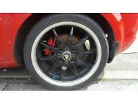 17 inch Black alloy wheels 205 45 17 good tyres