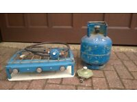 Camping Caravan gas hob and grill with 4.5 kg calor gas bottle