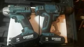 ERBAUER 18V TWIN IMPACT DRIVER & COMBI DRILL