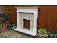 Adams Style Marble and Wood Fireplace - Base, Surround & Mantle Piece