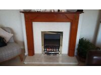 Electric fire and surround with solid marble hearth Excellent condition