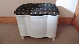 Ottoman vintage storage box, upholstered lid, white, wicker design, solid construction