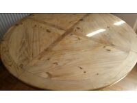 large Mexican pine round table