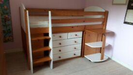 Mid Sleeper Bunk with desk and drawers