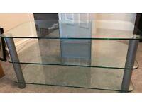 3 shelf glass tv unit, very good condition