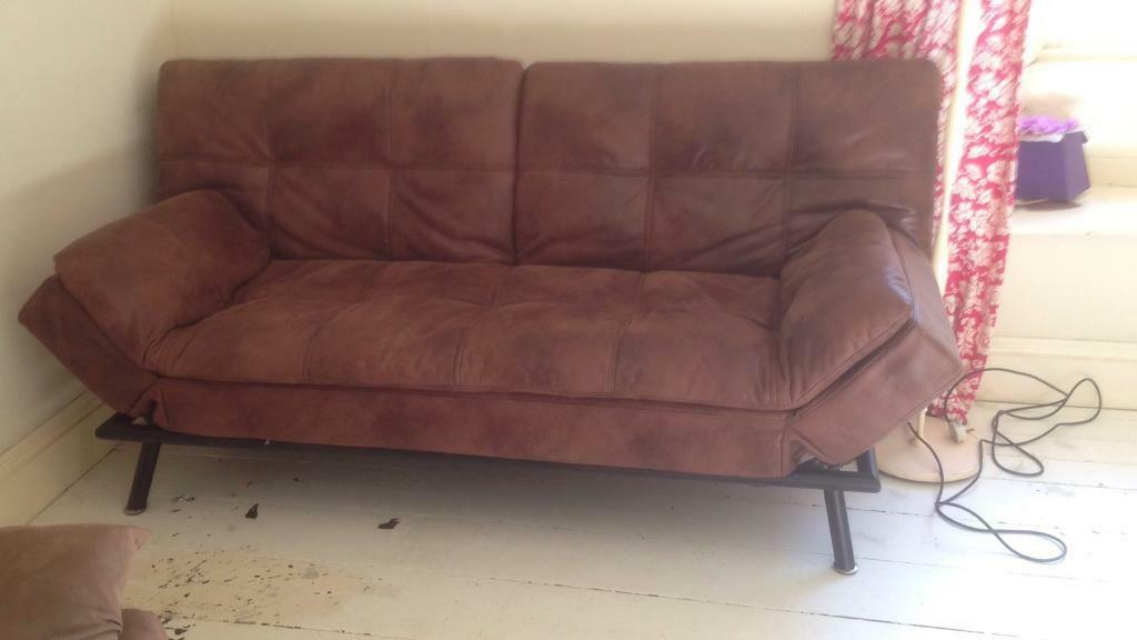 Double bed Settee, brown faux leather.