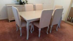 Solid Timber Dining Table With 6 Fully Covered Chairs East Ryde Ryde Area Preview