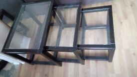 Glass top quality set of 3 table nest going cheap grab a bargain