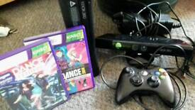 xbox 360 with kinect and 2 dance games